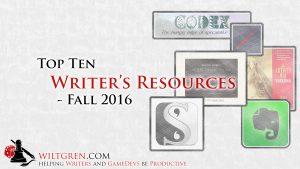 Top Ten Writer's Resources Fall 2016